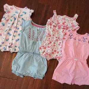 Girls lot of four size 18 month Carter's Rompers